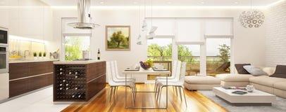 Μεγάλη σύγχρονη κουζίνα που συνδυάζεται με ένα καθιστικό με τα μεγάλα παράθυρα στοκ εικόνα