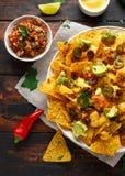 Μεξικάνικα tortilla nachos τσιπ με τις ελιές, το jalapeno, guacamole, το salsa ντοματών και την εμβύθιση τυριών στοκ φωτογραφίες με δικαίωμα ελεύθερης χρήσης