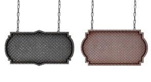 Μεταλλικό πιάτο με την πινακίδα σχεδίων διαμαντιών με τις αλυσίδες που απομονώνονται στοκ εικόνα με δικαίωμα ελεύθερης χρήσης