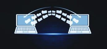 Μεταφορά αρχείων σημειωματάριων δυαδικοί μπλε άνθρωποι πληροφοριών ανταλλαγής έννοιας κώδικα ανασκόπησης teleport στοκ εικόνα με δικαίωμα ελεύθερης χρήσης