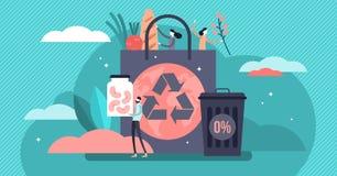 Μηά διανυσματική απεικόνιση αποβλήτων Επίπεδος μικροσκοπικός μειώνει την έννοια προσώπων συσκευασίας απεικόνιση αποθεμάτων