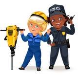 Μη γυναικεία επαγγέλματα, ισχυρός αστυνομικός γυναικών ομοιόμορφος με το κράτημα του ραδιο συνόλου, secutiry κορίτσι ασφάλειας, φ απεικόνιση αποθεμάτων