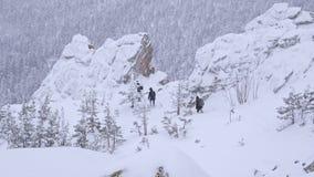 Μια ομάδα τουριστών κατεβαίνει από την κορυφή ενός χιονισμένου βουνού απόθεμα βίντεο