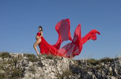 Μια όμορφη έγκυος γυναίκα που στέκεται στο θυελλώδη βράχο στο κόκκινο φόρεμα στοκ εικόνα με δικαίωμα ελεύθερης χρήσης
