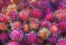 Μια συλλογή των φρούτων Rambutans στοκ φωτογραφία