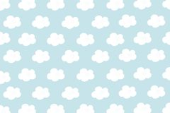 Μικρά άσπρα σύννεφα με το κυανό υπόβαθρο σχεδίων κρητιδογραφιών Αφηρημένος άνευ ραφής μινιμαλισμός Ύφος κινούμενων σχεδίων χρωμάτ διανυσματική απεικόνιση