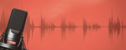 Μικρόφωνο στούντιο για την καταγραφή podcasts στοκ εικόνες με δικαίωμα ελεύθερης χρήσης
