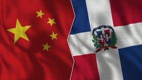 Μισές σημαίες της Κίνας και Δομινικανής Δημοκρατίας από κοινού απεικόνιση αποθεμάτων
