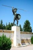 Μνημείο σε βασιλιά Λεωνίδας και 300 πολεμιστές της Σπάρτης σε Thermopylae, Ελλάδα Επιγραφή: Ελάτε και το πάρτε στοκ φωτογραφία