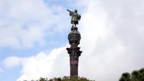 Μνημείο του Christopher Columbus στη Βαρκελώνη, Ισπανία Timelapse, σύννεφα που κινείται στο υπόβαθρο Καταλωνία απόθεμα βίντεο