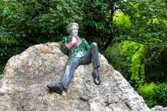 Μνημείο του Oscar Wilde στο τετραγωνικό πάρκο Merrion, Δουβλίνο, Ιρλανδία στοκ φωτογραφία με δικαίωμα ελεύθερης χρήσης