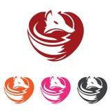 Μοναδικός κομψός χαρακτήρας λογότυπων μορφής καρδιών αλεπούδων αγάπης απεικόνιση αποθεμάτων