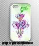 Μοντέρνο διανυσματικό σχεδιάγραμμα κάλυψης iPhone - το watercolor πράσινο, αναπηδά τη φρέσκια τυπωμένη ύλη με τα λουλούδια Γειά σ διανυσματική απεικόνιση