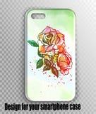Μοντέρνο διανυσματικό σχεδιάγραμμα κάλυψης iPhone - το watercolor πράσινο, αναπηδά τη φρέσκια τυπωμένη ύλη με τα τριαντάφυλλα ελεύθερη απεικόνιση δικαιώματος