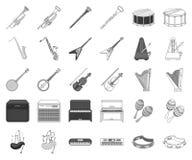 Μουσικό όργανο μονοχρωματικό, εικονίδια περιλήψεων στην καθορισμένη συλλογή για το σχέδιο Διανυσματικό απόθεμα συμβόλων οργάνων σ απεικόνιση αποθεμάτων