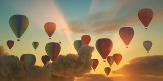 Μύγα Hotairballoons στον όμορφο ουρανό βραδιού και στα όμορφα σύννεφα στοκ φωτογραφίες