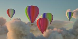 Μύγα Hotairballoons στον όμορφο ουρανό βραδιού και στα όμορφα σύννεφα στοκ φωτογραφία με δικαίωμα ελεύθερης χρήσης