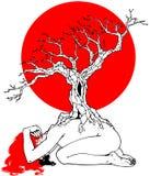 Μόνη γυναίκα, δέντρο και κόκκινος ήλιος ελεύθερη απεικόνιση δικαιώματος