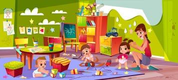 Μωρά που παίζουν στο διάνυσμα κινούμενων σχεδίων παιδικών σταθμών ελεύθερη απεικόνιση δικαιώματος