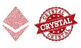 Μωσαϊκό καρδιών αγάπης του εικονιδίου κρυστάλλου και του γραμματοσήμου Grunge απεικόνιση αποθεμάτων