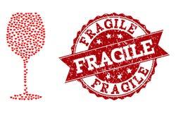 Μωσαϊκό καρδιών βαλεντίνων του εικονιδίου γυαλιού κρασιού και του υδατοσήμου Grunge απεικόνιση αποθεμάτων