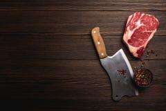 Μπαλτάς Ribeye και κρέατος στοκ εικόνα