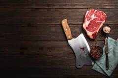 Μπαλτάς Ribeye και κρέατος στοκ εικόνες