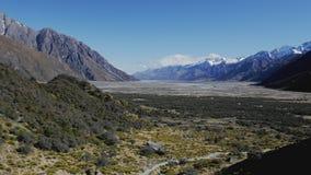 Μπλε λίμνες και βουνά, περίπατος κοιλάδων Tasman και άποψη παγετώνων Tasman, Νέα Ζηλανδία απόθεμα βίντεο