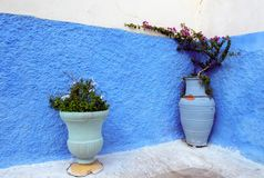 Μπλε χρωματισμένοι τοίχοι, medina της Rabat, Morocoo στοκ εικόνα με δικαίωμα ελεύθερης χρήσης