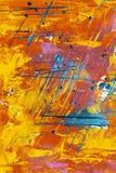 Μπλε χρωματισμού στον πορτοκαλή τοίχο, αφηρημένο ύφος απεικόνιση αποθεμάτων