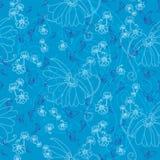 Μπλε Butterfliy και μπλε λουλούδια απεικόνιση αποθεμάτων