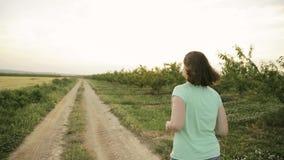 Νέα καυκάσια γυναίκα που απολαμβάνει τη ζωή και το τρέξιμο Jogging στον ισπανικό δρόμο επαρχίας μέσω του αγροτικού τοπίου τομέων  απόθεμα βίντεο