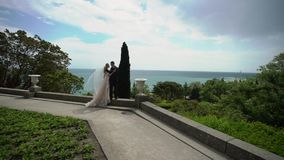 Νέα όμορφη νύφη σε ένα γαμήλιο φόρεμα και νεόνυμφος που αγκαλιάζει και που φιλά απόθεμα βίντεο