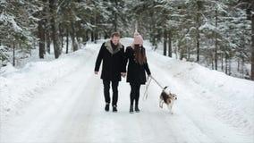 Νέα όμορφη οικογένεια που έχει τη διασκέδαση με ένα σκυλί στο χειμερινούς δασικούς άνδρα και τη γυναίκα που περπατούν με το λαγων φιλμ μικρού μήκους