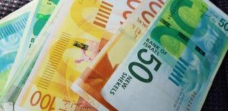 Νέα τραπεζογραμμάτια Shekel 100, 50 στοκ εικόνα