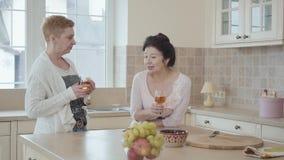 Να κουβεντιάσει επικοινωνίας δύο ελκυστικό μέσο ηλικίας ώριμο γυναικών και κρασί κατανάλωσης στον πίνακα στην κουζίνα Ανώτερες κυ φιλμ μικρού μήκους