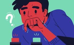 Νεαρός άνδρας που επιλέγει το κουμπί που ωθεί Έννοια της δύσκολης επιλογής μεταξύ των δύο επιλογών, εναλλακτικών λύσεων ή ευκαιρι διανυσματική απεικόνιση