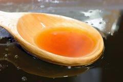 Ξύλινο κουτάλι στο φρέσκο υγρό μέλι στοκ εικόνες