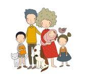 οικογένεια ευτυχής Πρόγονοι με τα παιδιά Χαριτωμένος μπαμπάς, mom, κόρη, γιος και μωρό κινούμενων σχεδίων απεικόνιση αποθεμάτων