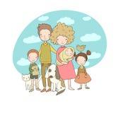 οικογένεια ευτυχής Πρόγονοι με τα παιδιά Χαριτωμένος μπαμπάς, mom, κόρη, γιος και μωρό κινούμενων σχεδίων διανυσματική απεικόνιση