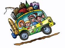 Οικογένεια κινούμενων σχεδίων που πηγαίνει στο καλοκαιρινό εκπαιδευτικό κάμπινγκ με φορτωμένη αυτοκινήτων τους πλήρως το διάνυσμα απεικόνιση αποθεμάτων