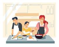Οικογενειακό μαγειρεύοντας γεύμα στον πατέρα και το γιο μητέρων κουζινών απεικόνιση αποθεμάτων