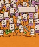 Οι άνθρωποι κινούμενων σχεδίων συσσωρεύουν και ευτυχές φεστιβάλ μουσικής ελεύθερη απεικόνιση δικαιώματος
