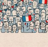Οι άνθρωποι κινούμενων σχεδίων συσσωρεύουν και ευτυχής εθνική γαλλική ημέρα διανυσματική απεικόνιση