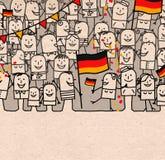 Οι άνθρωποι κινούμενων σχεδίων συσσωρεύουν και ευτυχής εθνική γερμανική ημέρα απεικόνιση αποθεμάτων