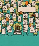 Οι άνθρωποι κινούμενων σχεδίων συσσωρεύουν και χρόνια πολλά χρόνος ελεύθερη απεικόνιση δικαιώματος