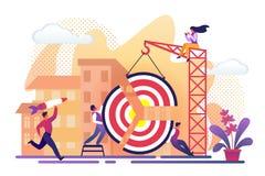 Οι άνθρωποι συγκεντρώνουν τα τεράστια κομμάτια στόχων χτίζοντας το γερανό ελεύθερη απεικόνιση δικαιώματος