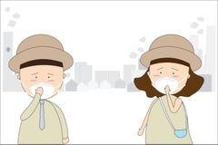 Οι άνδρες και οι γυναίκες φορούν τις μάσκες για να αποτρέψουν την ατμοσφαιρική ρύπανση στην πόλη Όπως η σκόνη, ο καπνός και η μυρ ελεύθερη απεικόνιση δικαιώματος
