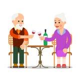 Οι ηλικιωμένοι άνθρωποι κάθονται σε έναν πίνακα και ένα κρασί κατανάλωσης Παλαιό ζεύγος που απολαμβάνει το χρόνο από κοινού Γεύμα διανυσματική απεικόνιση