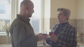 Οι ηλικιωμένοι συνδέουν με τα γυαλιά κρασιού που υπερασπίζονται το ευρύ παράθυρο στην κουζίνα Οικογενειακές σχέσεις φιλμ μικρού μήκους